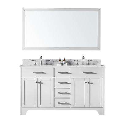 60 in. Double Sink Bathroom Vanity in White with Carrara White Marble Top and Mirror Set