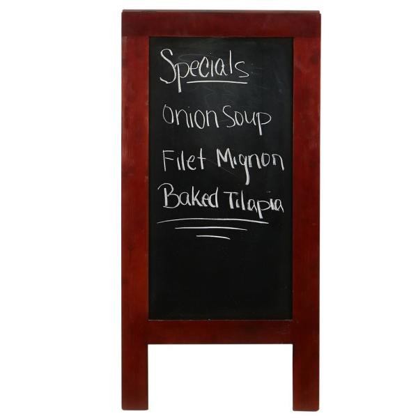 Mind Reader 40 In X 20 In Brown Wooden Free Standing Chalkboard Restaurant Sign Resign Brn The Home Depot