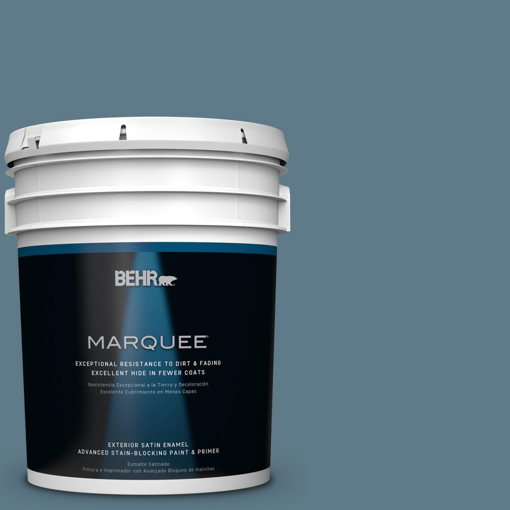 BEHR MARQUEE 5-gal. #pmd-65 Ocean Shadow Satin Enamel Exterior Paint, Blues
