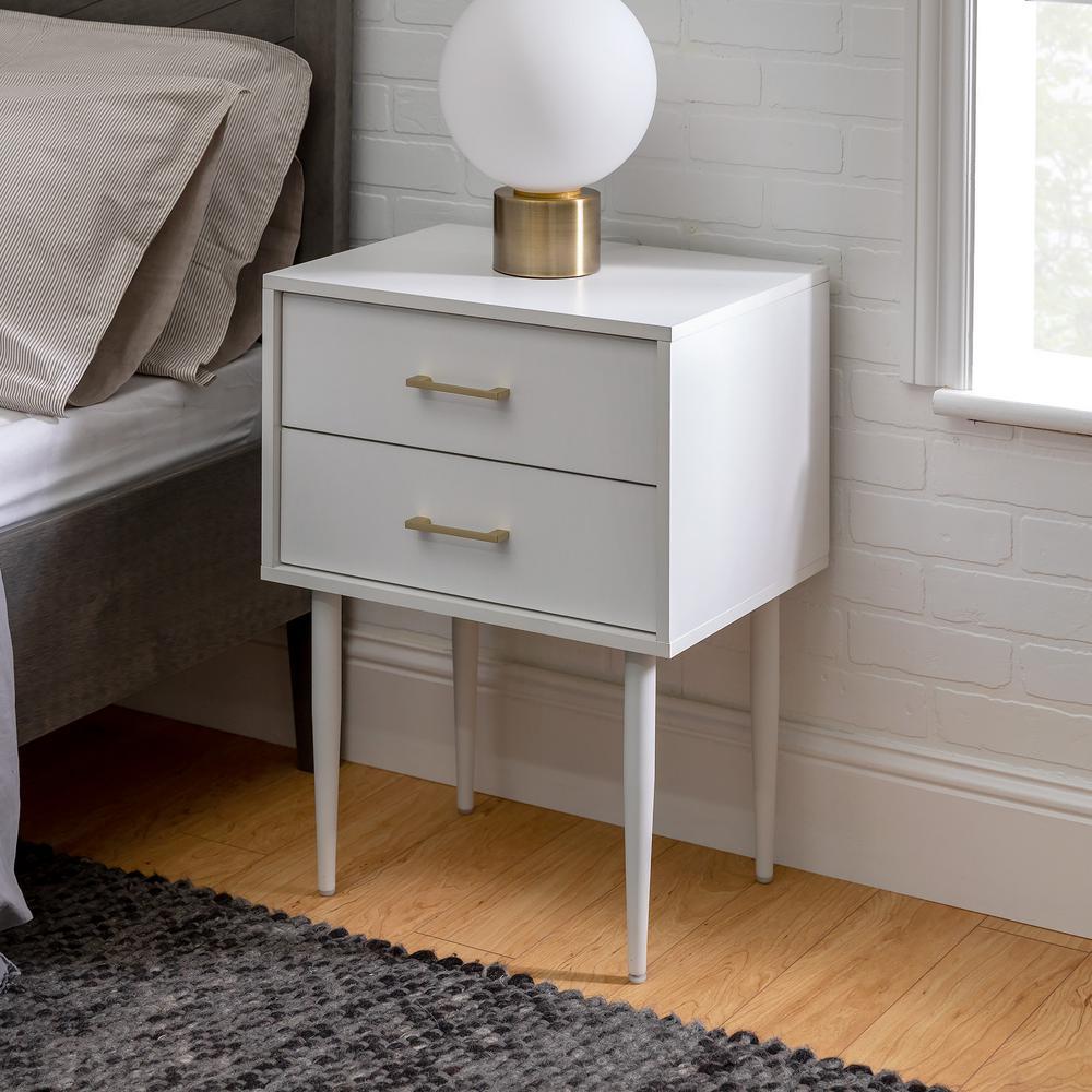 WalkerEdisonFurnitureCompany Walker Edison Furniture Company 20 in. White Olivia 2-Drawer Side Table