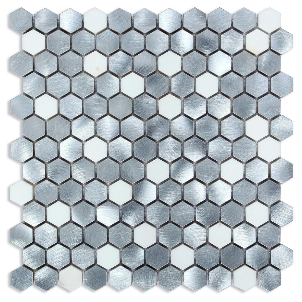 CHENX 12.60 in. x 12.60 in. Aluminum and Stone Mosaic Backsplash in ...