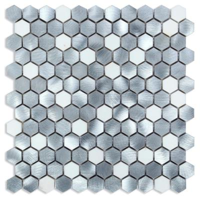 CHENX 12.60 in. x 12.60 in. Aluminum and Stone Mosaic Backsplash in Sliver/White (12.12 sq. ft./case)
