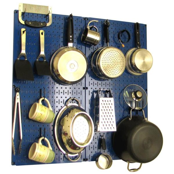 Wall Control Kitchen Pegboard 32 in. x 32 in. Metal Peg Board Pantry Organizer Kitchen Pot Rack Blue Pegboard and Black Peg Hooks