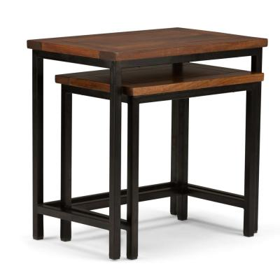 Glenna Solid Mango Wood and Metal 25 inch Wide Industrial Nesting 2 Pc Side Table in Dark Cognac Brown, Fully Assembled