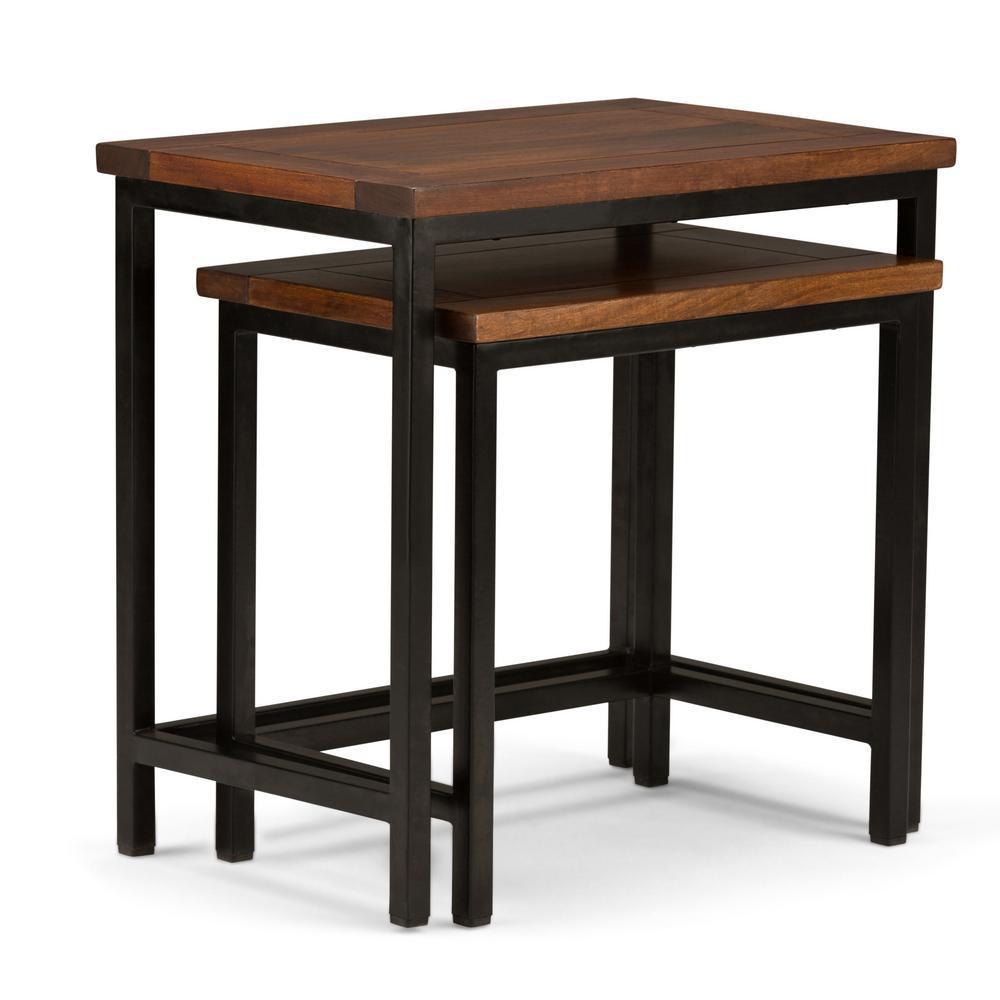 Skyler Solid Mango Wood and Metal 25 in. Wide Modern Industrial Nesting 2-Piece Side Table in Dark Cognac Brown