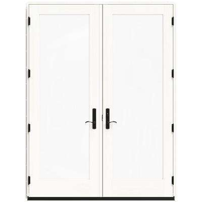 71.25 in. x 95.5 in. W-4500 Brilliant White Left Hand Inswing French Wood Patio Door
