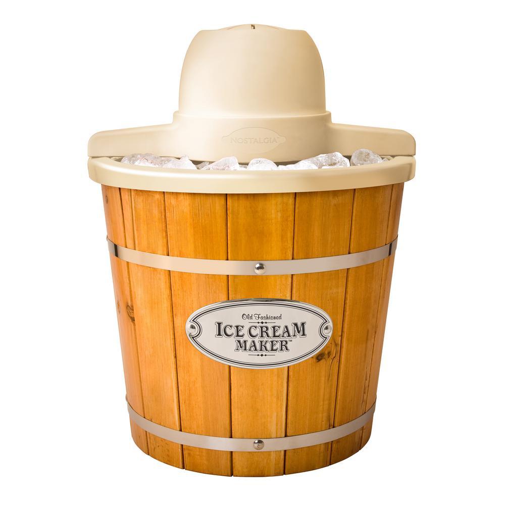 4 Qt. Light Wood Bucket Electric Ice Cream Maker