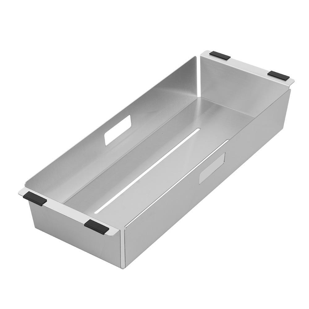 Noah Plus 17 in. Stainless Steel Sink Colander in Brushed Stainless Steel