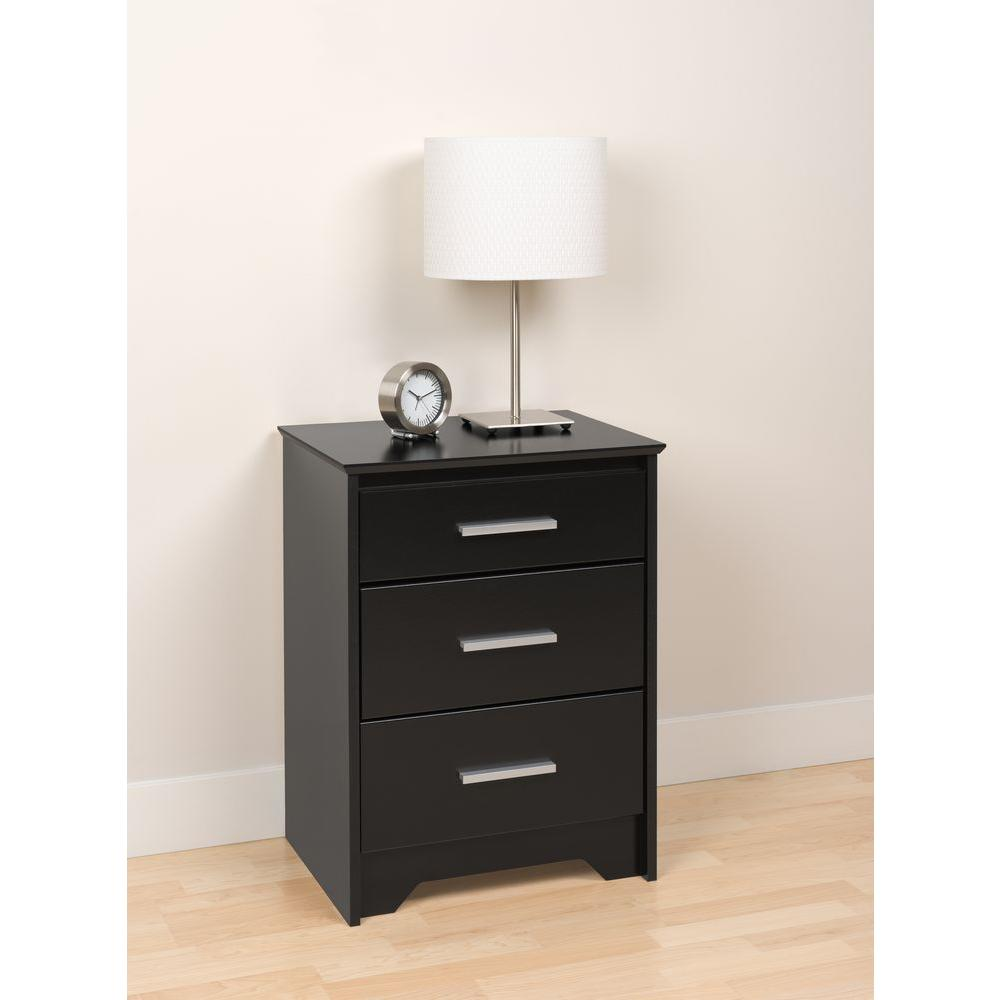 Prepac Coal Harbor 3 Drawer Black Nightstand