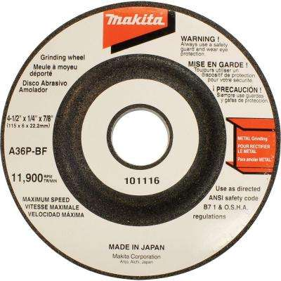 4-1/2 in. x 7/8 in. x 1/4 in. 36-Grit General Purpose Metal Grinding Wheel (5-Pack)