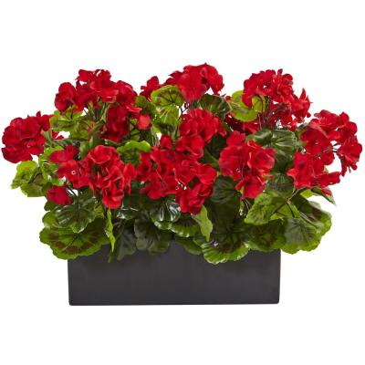 Indoor/Outdoor UV Resistant Red Geranium Silk Plant in Rectangular Planter