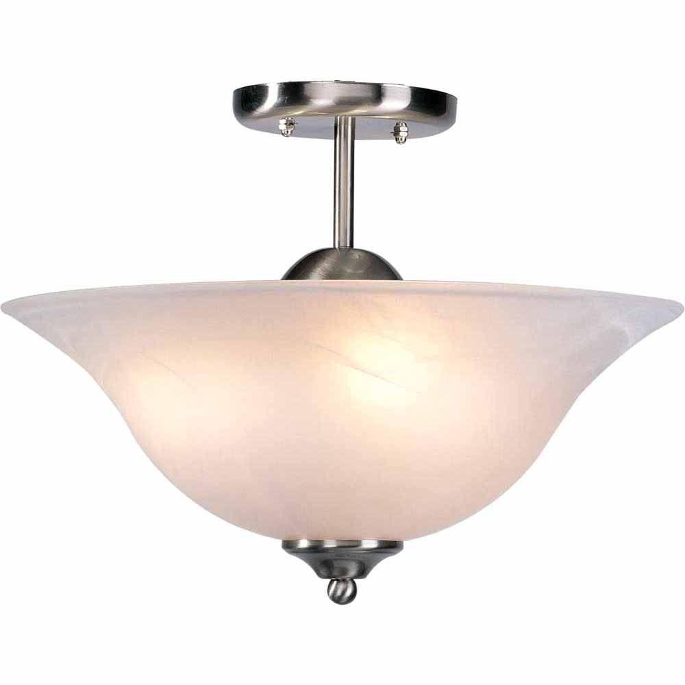 Lenor 3-Light Brushed Nickel Fluorescent Semi-Flush Mount Light