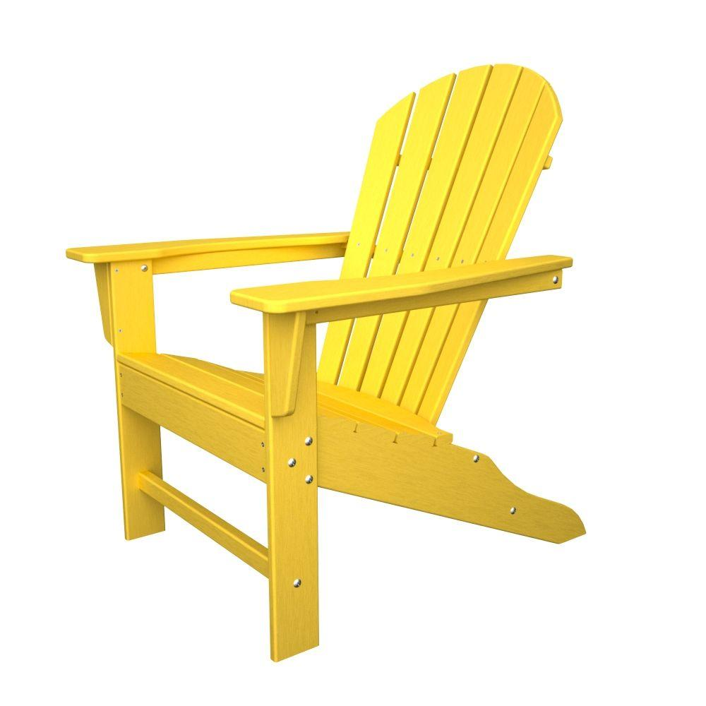 Polywood South Beach Lemon Plastic Patio Adirondack Chair Sba15le The Home Depot