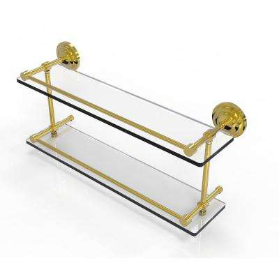 Que New 22 in. Double Glass Shelf with Gallery Rail in Unlacquered Brass