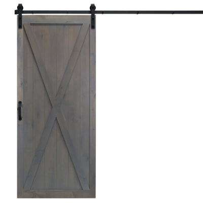 36 in. x 84 in. Classic X Ash Gray Alder Wood Interior Barn Door Slab with Sliding Door Hardware Kit