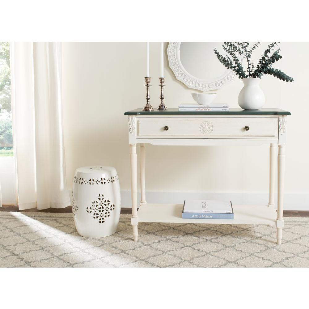 Jenel Antique White And Dark Brown Storage Console Table