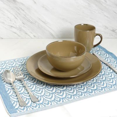 Bristol Grand 16-Piece Taupe Dinnerware Set