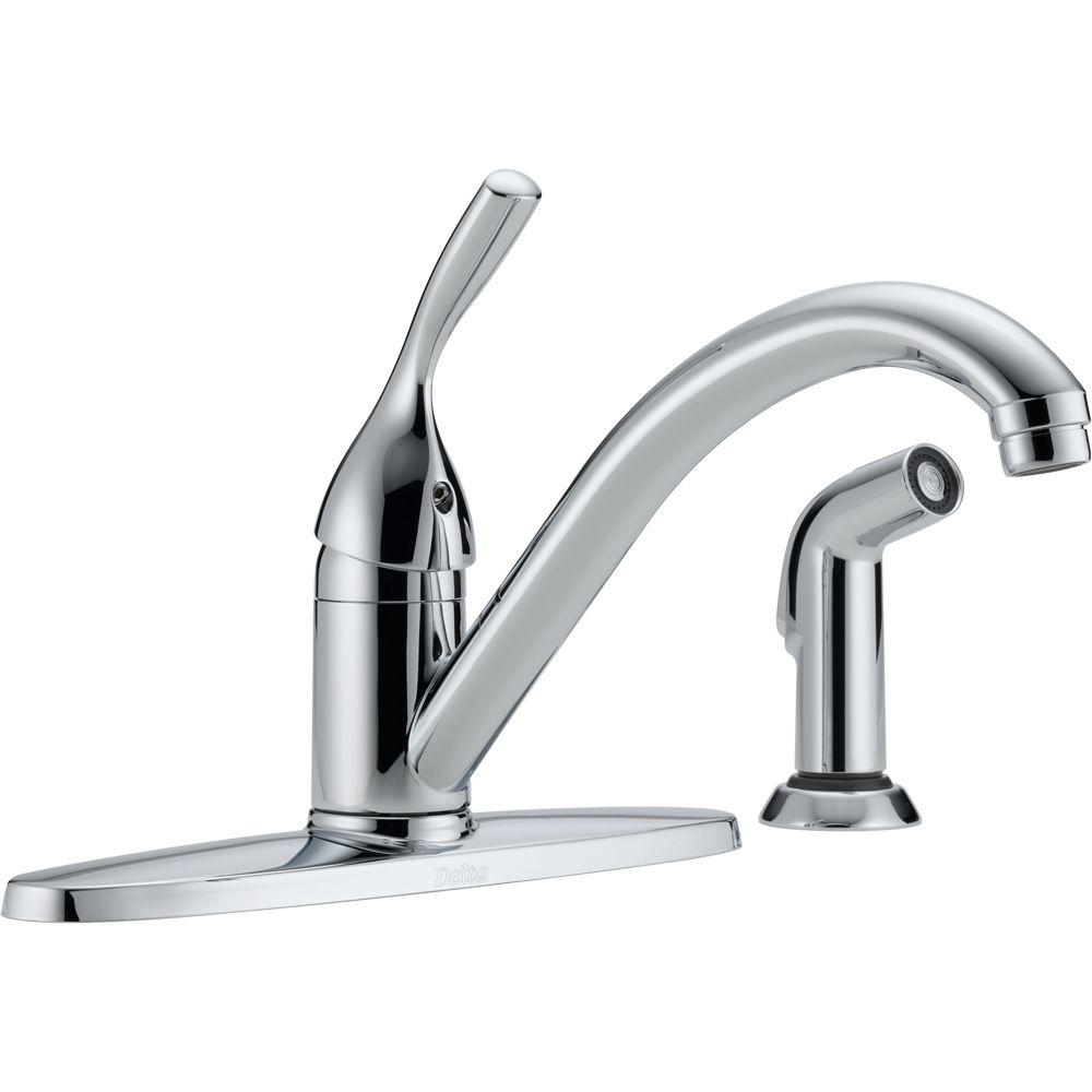 Delta Classic Single-Handle Standard Kitchen Faucet with Side ...