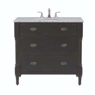 Fallston 37 in. Vanity in Weathered Brown with Granite Vanity Top in Grey with Weathered Brown Basin