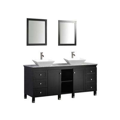 72 in. W x 22 in. D x 37 in. H Vanity in Espresso with Marble Vanity Top with White Basins and Mirrors
