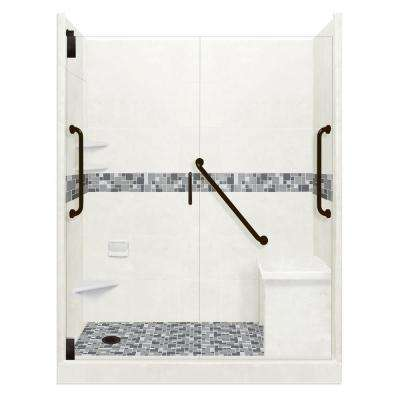 Newport Freedom Grand Hinged 36 in. x 60 in. x 80 in. Left Drain Alcove Shower Kit in Natural Buff and Black Pipe