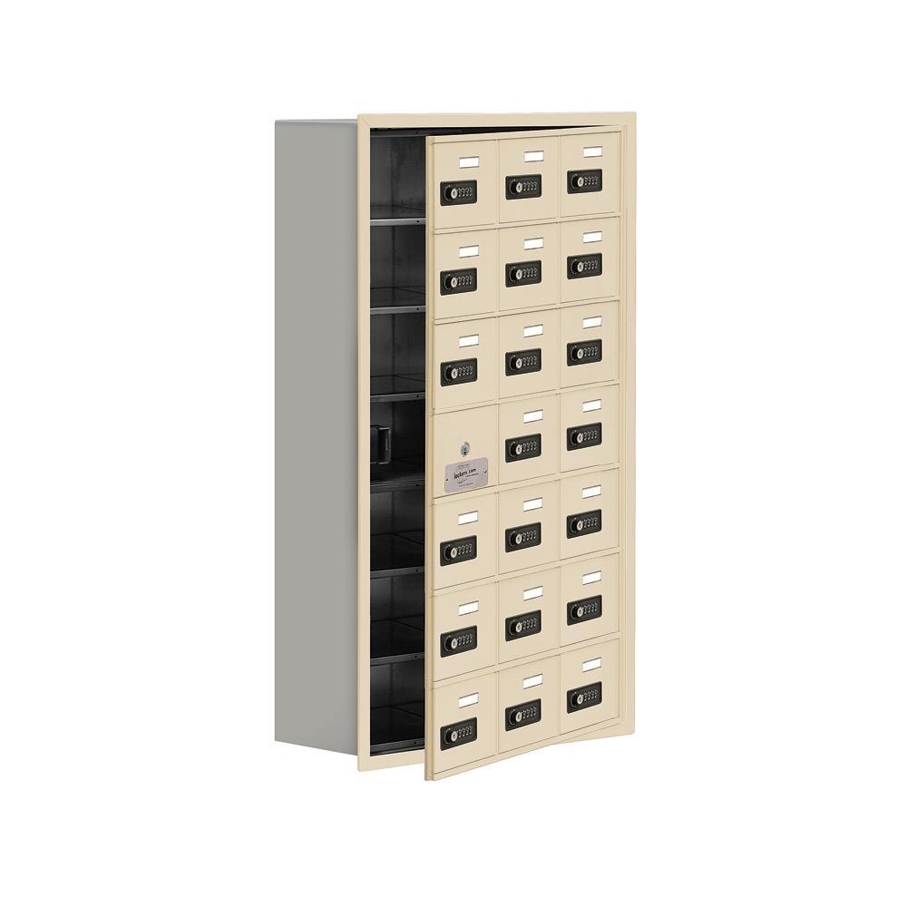 19100 Series 22.75 in. W x 40.75 in. H x 8.75 in. D 20 Doors Cell Phone Locker Recess Mount Resettable Lock in Sandstone