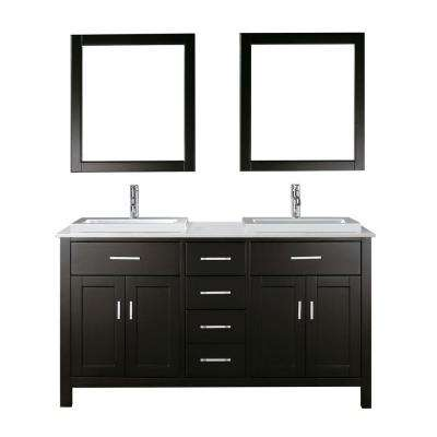 Kelly 63 in. Vanity in Espresso with Solid Surface Marble Vanity Top in Carrara White and Mirror
