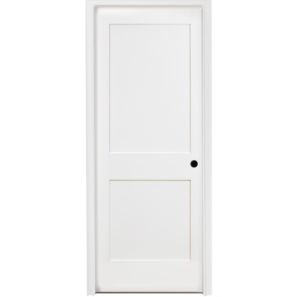 Steves Sons 24 In X 80 In 2 Panel Square Shaker White Primed Lh Solid Core Wood Single