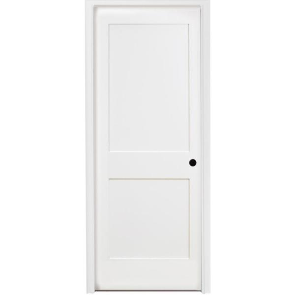 32 in. x 80 in. 2-Panel Square Shaker White Primed LH Solid Core Wood Single Prehung Interior Door with Nickel Hinges