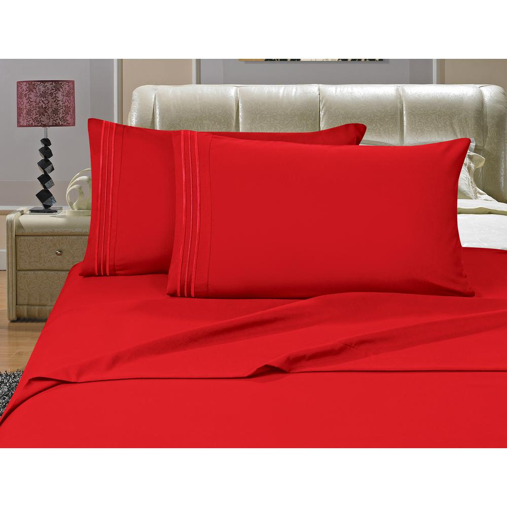 1500 Series 4-Piece Red Triple Marrow Embroidered Pillowcases Microfiber Queen