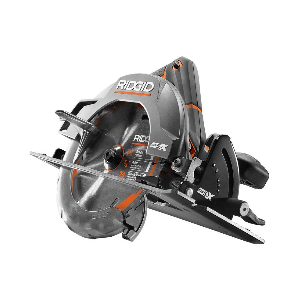 Ridgid 18 volt gen5x cordless 7 14 in circular saw tool only ridgid 18 volt gen5x cordless 7 14 in circular saw tool only with blade and blade wrench r8652b the home depot greentooth Image collections