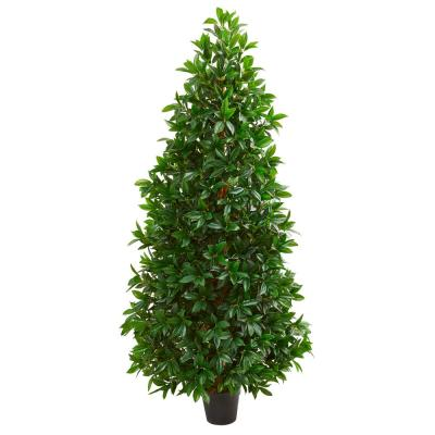 5 ft. Indoor/Outdoor Bay Leaf Cone Topiary Artificial Tree