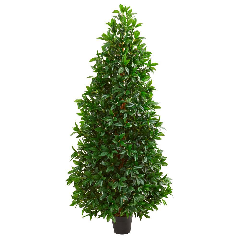 Indoor/Outdoor 5ft. Bay Leaf Cone Topiary Artificial Tree