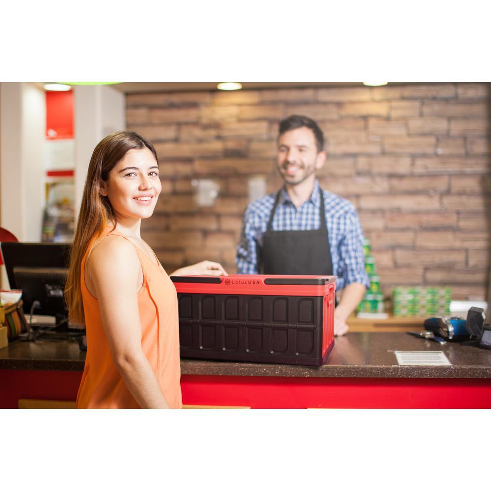 LotusUSA Foldable Hardside Storage Crate Red and Black 48 Quart