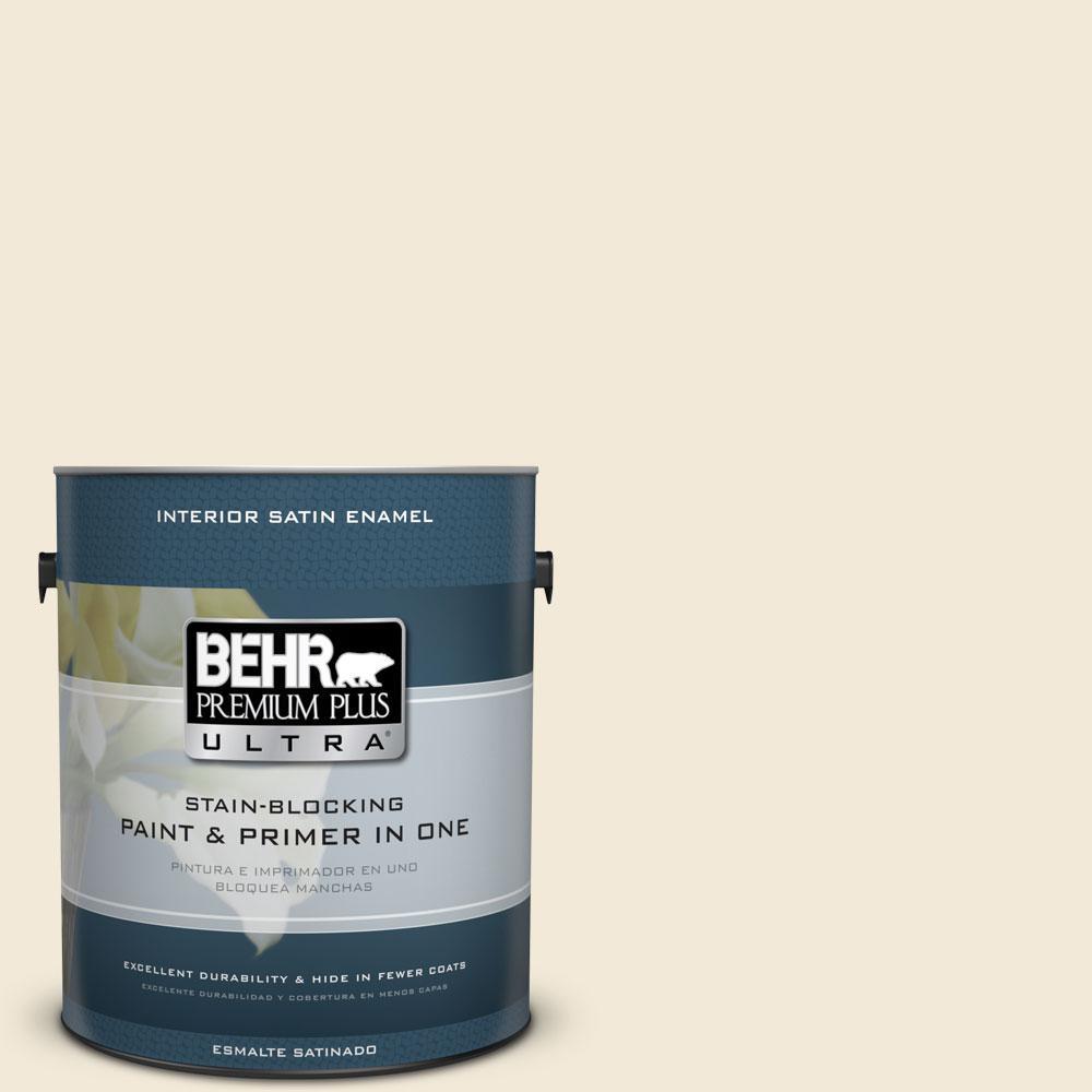 BEHR Premium Plus Ultra Home Decorators Collection 1 gal. #HDC-CL-17 Ceylon Cream Satin Enamel Interior Paint and Primer in One