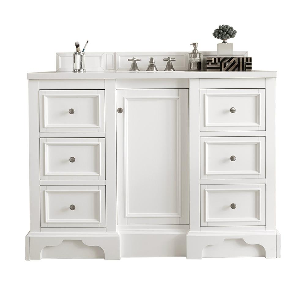 James Martin Vanities De Soto 48 in. W Single Vanity in Bright White with Soild Surface Vanity Top in Arctic Fall with White Basin