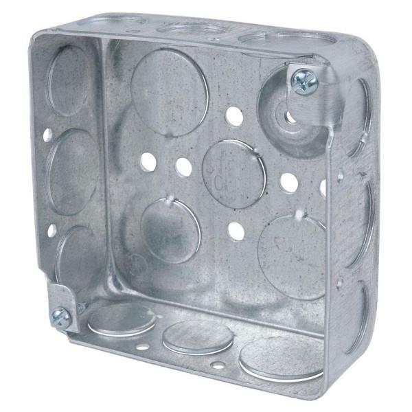 1-Gang 4 in. New Work Metal Electrical Wall Box with Ground Bump (Case of 50)