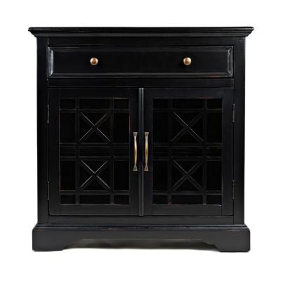Craftmen Series Black 32 in. Wooden Accent Cabinet with Fretwork Glass Front