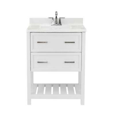 Milan 25 in. Bath Vanity in White with Cultured Marble Vanity Top with Backsplash in Carrara White with White Basin