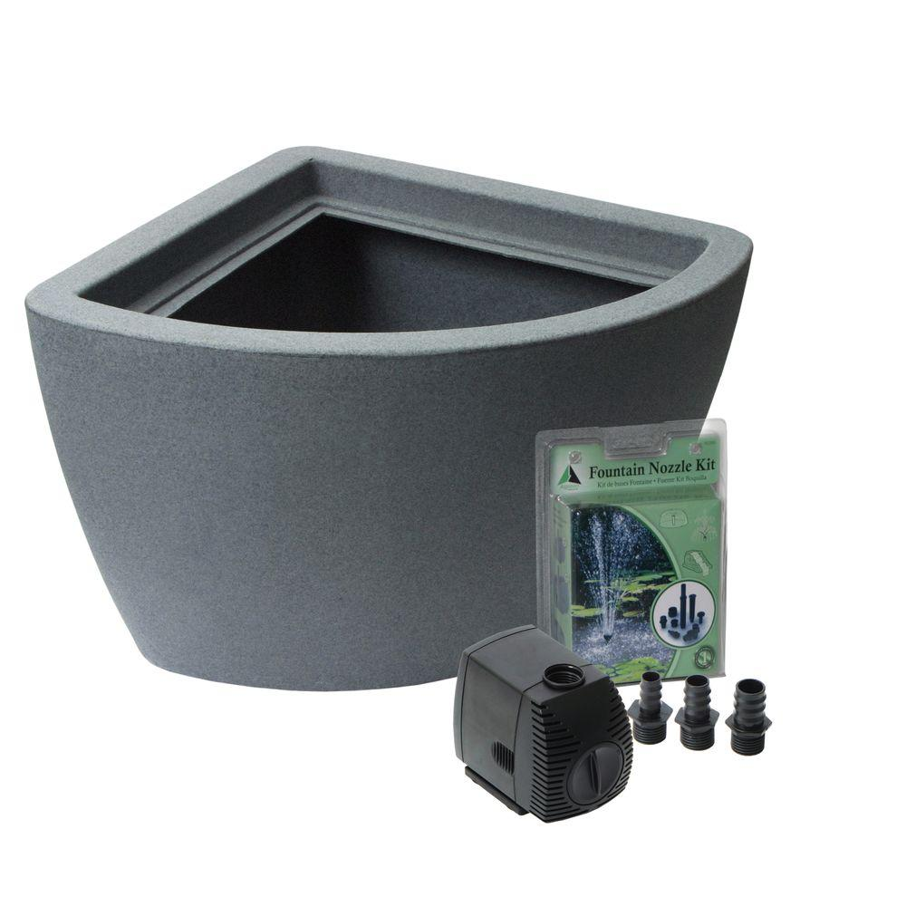 Algreen Hampton 35 Gal No Dig Pond Kit In Charcoal 35002