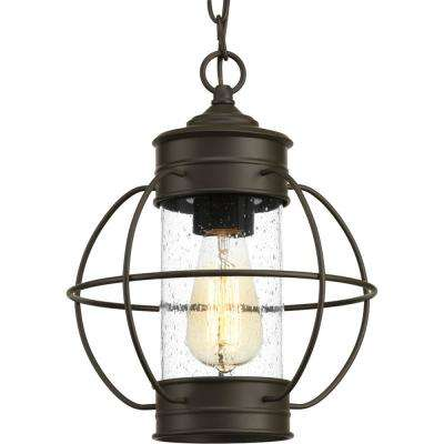 Haddon Collection Antique Bronze 1-Light Outdoor Hanging Lantern