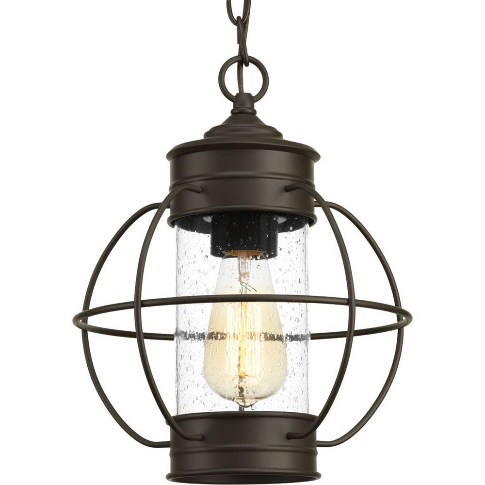 Haddon Collection Antique Bronze 1-Light Outdoor Hanging Lantern