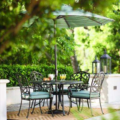 Outdoor Madrid 5-Piece Bronze and Bermuda Cast-Back Dining Set