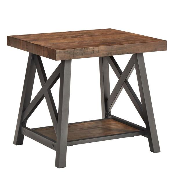 Brown End Table With Shelf