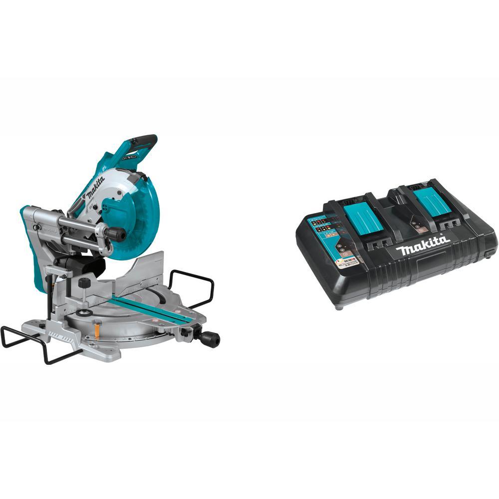 18-Volt X2 LXT Brushless 10 in. Dual-Bevel Sliding Compound Miter Saw with Bonus 18-Volt LXT Dual Port Rapid Charger