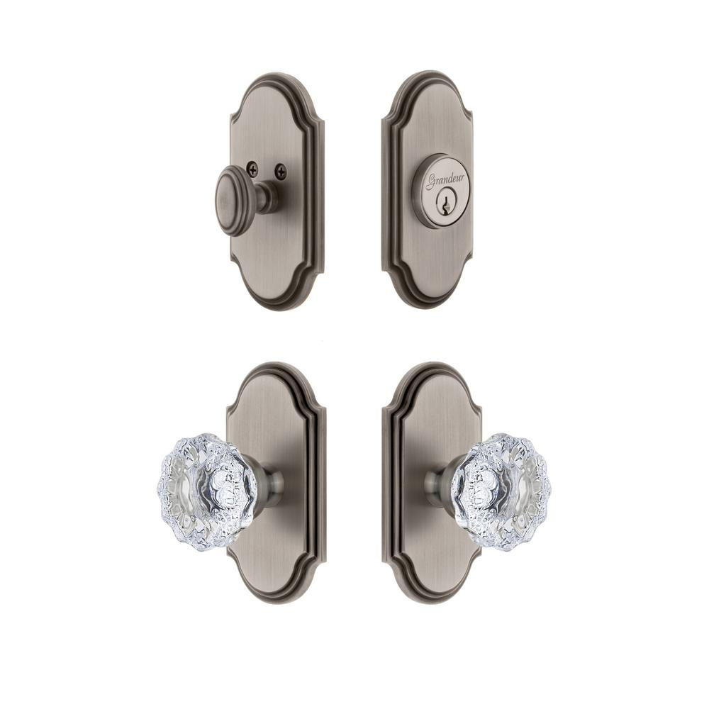 Arc Plate 2-3/4 in. Backset Antique Pewter Fontainebleau Crystal Door Knob