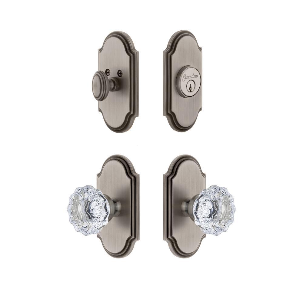 Arc Plate 2-3/4 in. Backset Antique Pewter Fontainebleau Crystal Door Knob with Single Cylinder Deadbolt