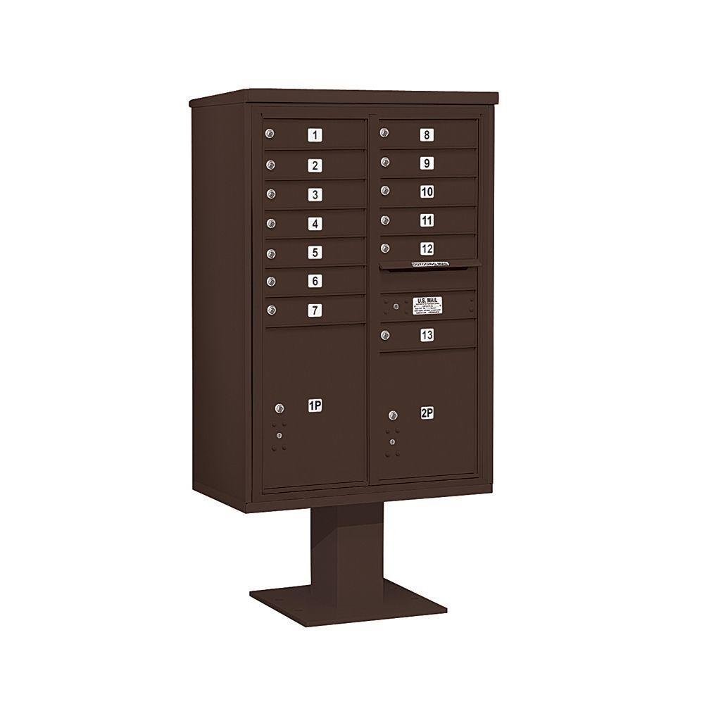 3400 Series 63-1/4 in. 13 Door High Unit Bronze 4C Pedestal Mailbox with 13 MB1 Doors/1 PL5 and 1 PL6