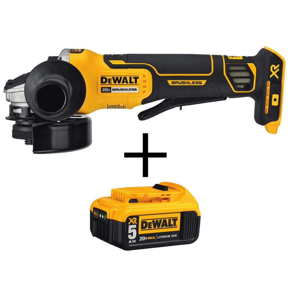DEWALT 20-Volt MAX XR Li-Ion Cordless Brushless 4-1/2 in. Angle Grinder with Brake (Tool-Only) with 20-Volt Li-Ion Battery 5 Ah