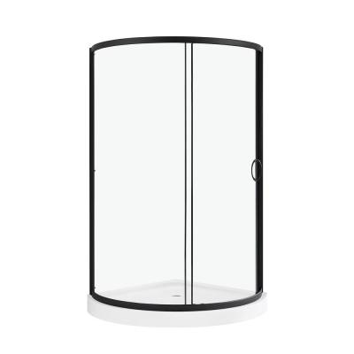 Breeze 36 in. L x 36 in. W x 76 in. H Corner Shower Kit with Sliding Framed Door in Black, Shower Wall and Shower Pan